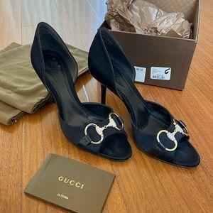 Gucci New Hollywood Black Heels w/Gold/Rhinestones